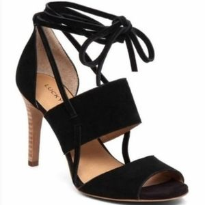 EUC Lucky Brand Wrap Ankle Suade Wood Heels
